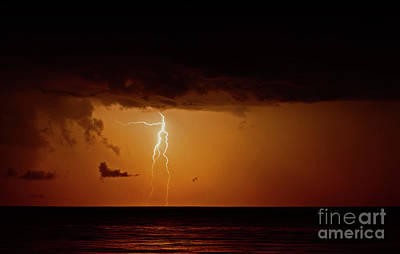 Poster featuring the photograph Branch Lightning Over Lake by Charline Xia