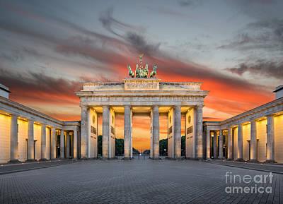 Brandenburg Gate Sunset Poster