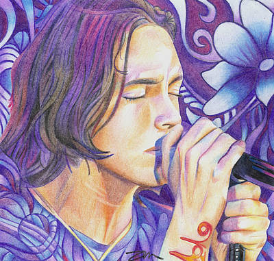 Poster featuring the drawing Brandon Boyd by Joshua Morton