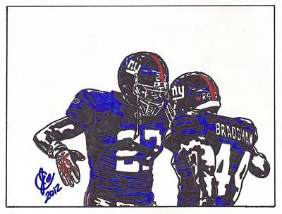 Poster featuring the drawing Brandon Jacobs And Ahmad Bradshaw by Jeremiah Colley