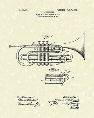 Brass Musical Instrument 1906 Patent Poster by Prior Art Design
