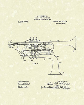 Brass Musical Instrument 1914 Patent Poster by Prior Art Design