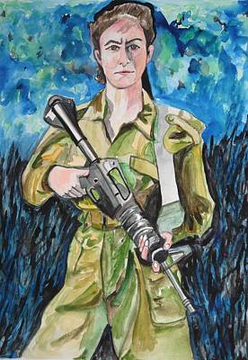 Poster featuring the painting Bravado, An Israeli Woman Soldier by Esther Newman-Cohen