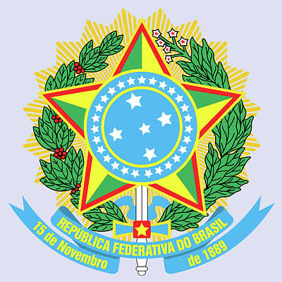 Poster featuring the drawing Brazil Coat Of Arms by Movie Poster Prints