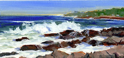 Breakers On The Point Poster by Mary Byrom