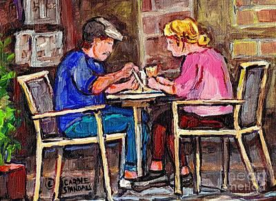 Breakfast At The Bistro Paris Style Cafe Original Quebec Art Carole Spandau Poster