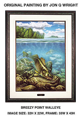 Breezy Point Walleye Original Poster by Jon Q Wright