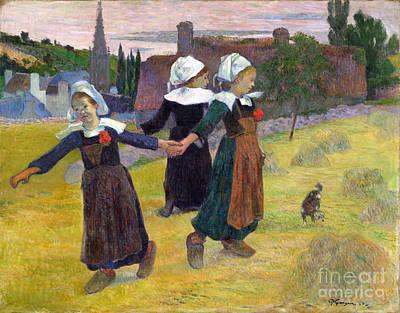 Breton Girls Dancing Pont-aven Poster by Gauguin