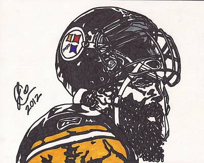 Poster featuring the drawing Brett Keisel by Jeremiah Colley