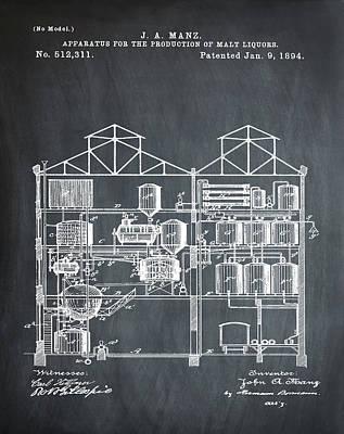 Brewing Malt Liquors Patent 1894 In Chalk Poster