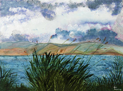 Brewing Storm Over Lake Watercolor Painting Poster