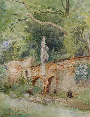 Brick Bridge With A Stone Figure Poster by Marie Egner