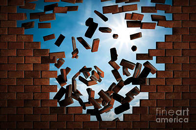 Brick Wall Falling Down Making A Hole To Sunny Sky Outside Poster