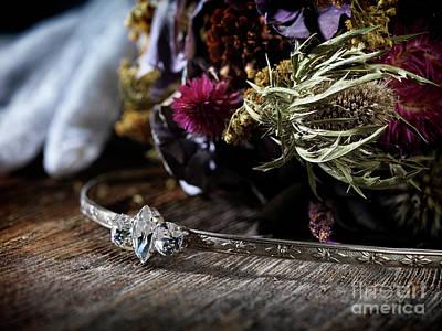 Bridal Tiara Headpiece And A Wedding Bouquet  Poster by Awen Fine Art Prints