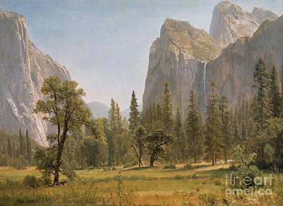 Bridal Veil Falls Yosemite Valley California Poster by Albert Bierstadt