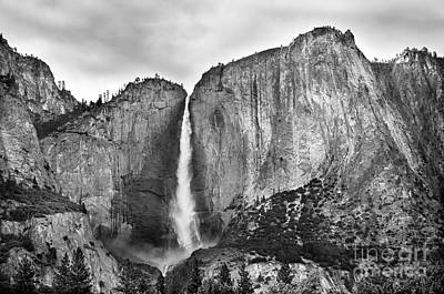 Bridalveil Fall In Yosemite Valley Bw Poster by RicardMN Photography