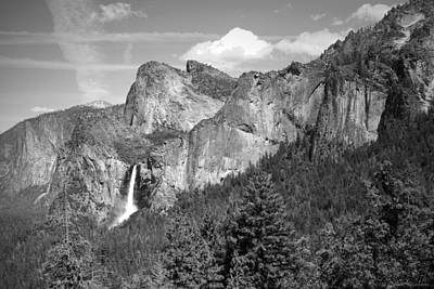 Bridalveil Falls From Tunnel View B And W Poster
