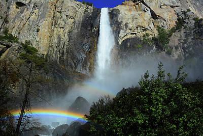 Bridalveil Falls Rainbows Poster by Raymond Salani III