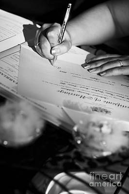 Bride Signing Name On Marriage Register Contract Poster