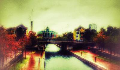 Poster featuring the photograph Bridge At Salford Quays by Isabella F Abbie Shores FRSA