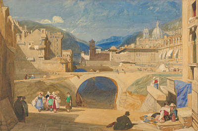 Bridge In A Continental Town Poster by John Sell Cotman