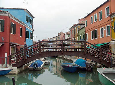 Bridge In Burano Italy Poster by Mindy Newman