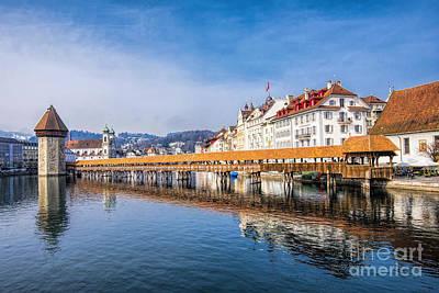 Bridge In Lucerne Poster by Pravine Chester