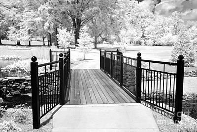 Infrared Black White Surreal Bridge Gate Nature Landscape Infrared Poster