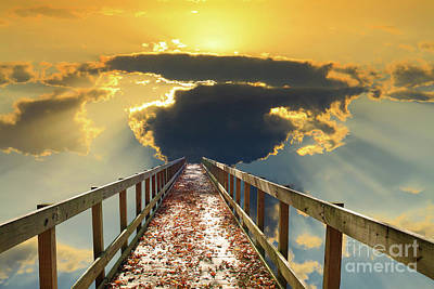 Bridge Into Sunset Poster by Inspirational Photo Creations Audrey Woods