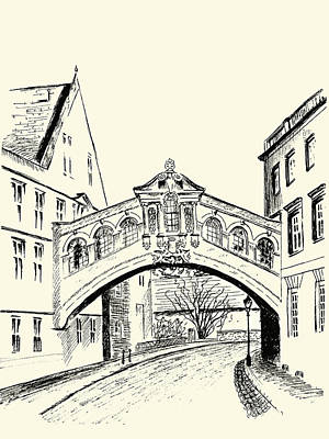 Poster featuring the drawing Bridge Of Sighs by Elizabeth Lock