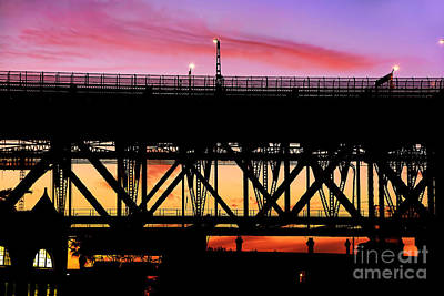 Bridge Sunset Silhouette By Kaye Menner Poster by Kaye Menner