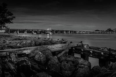 Poster featuring the photograph Bridge To Longboat Key In Bw by Doug Camara