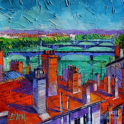 Bridges Of Lyon Poster by Mona Edulesco