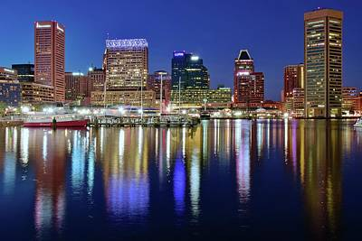 Bright Blue Baltimore Night Poster by Frozen in Time Fine Art Photography