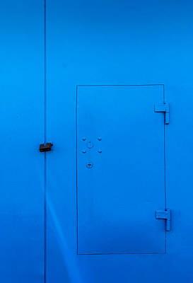 Bright Blue Locked Door And Padlock Poster