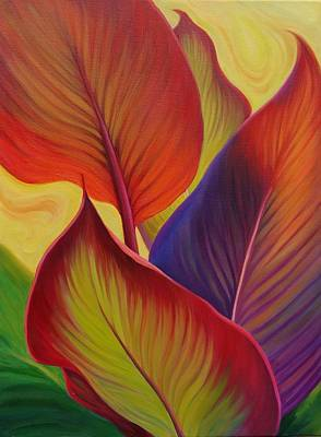 Bright Canna Leaves Poster by Bonnie Hill