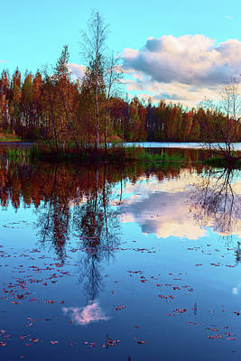 Bright Colors Of Autumn Reflected In The Still Waters Of A Beautiful Forest Lake Poster
