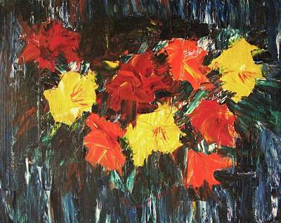 Bright Flowers On Blue Poster by Suzanne  Marie Leclair