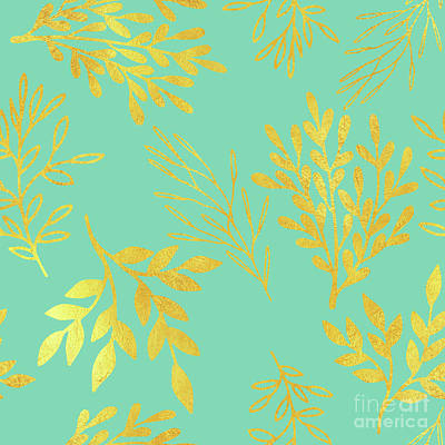 Bright Golden Leaves On Aquamarine Botanical Pattern Poster by Tina Lavoie