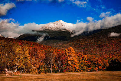 Bright Morning Fall Foliage At The Foot Of Mount Washington Poster by Jeff Folger