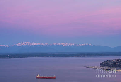 Bright Olympic Mountains And Sunrise Skies Poster by Mike Reid