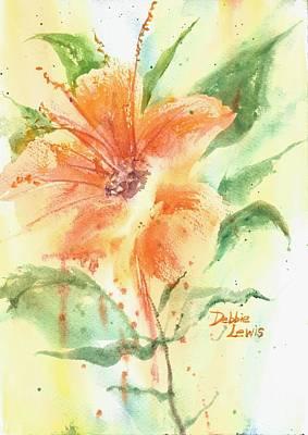 Bright Orange Flower Poster by Debbie Lewis