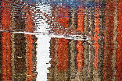Bright Reflections Of Autumn On The River Poster by Ekaterina Torganskaia