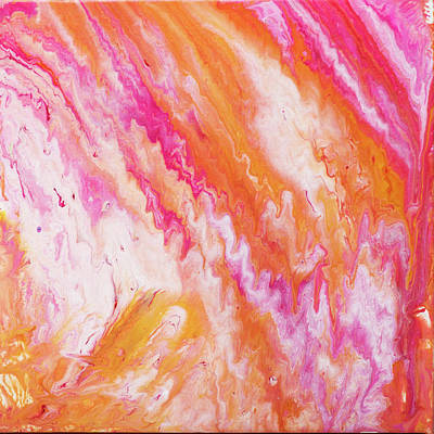 Bright Yellow And Pink Sorbet Fluid Art Poster