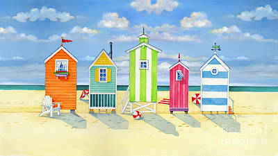Brighton Beach Huts Poster by Paul Brent