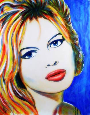 Poster featuring the painting Brigitte Bardot Pop Art Portrait by Bob Baker