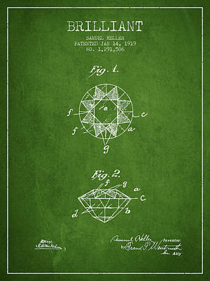 Brilliant Patent From 1919 - Green Poster by Aged Pixel