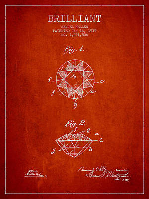Brilliant Patent From 1919 - Red Poster by Aged Pixel