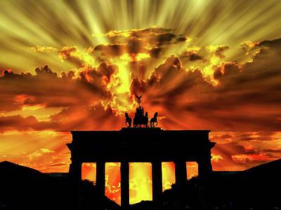 Brilliant Sunset Over The Brandenburg Gate Poster by Brigitte Werner
