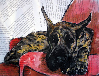 Brindle Great Dane On Couch Poster by Christas Designs
